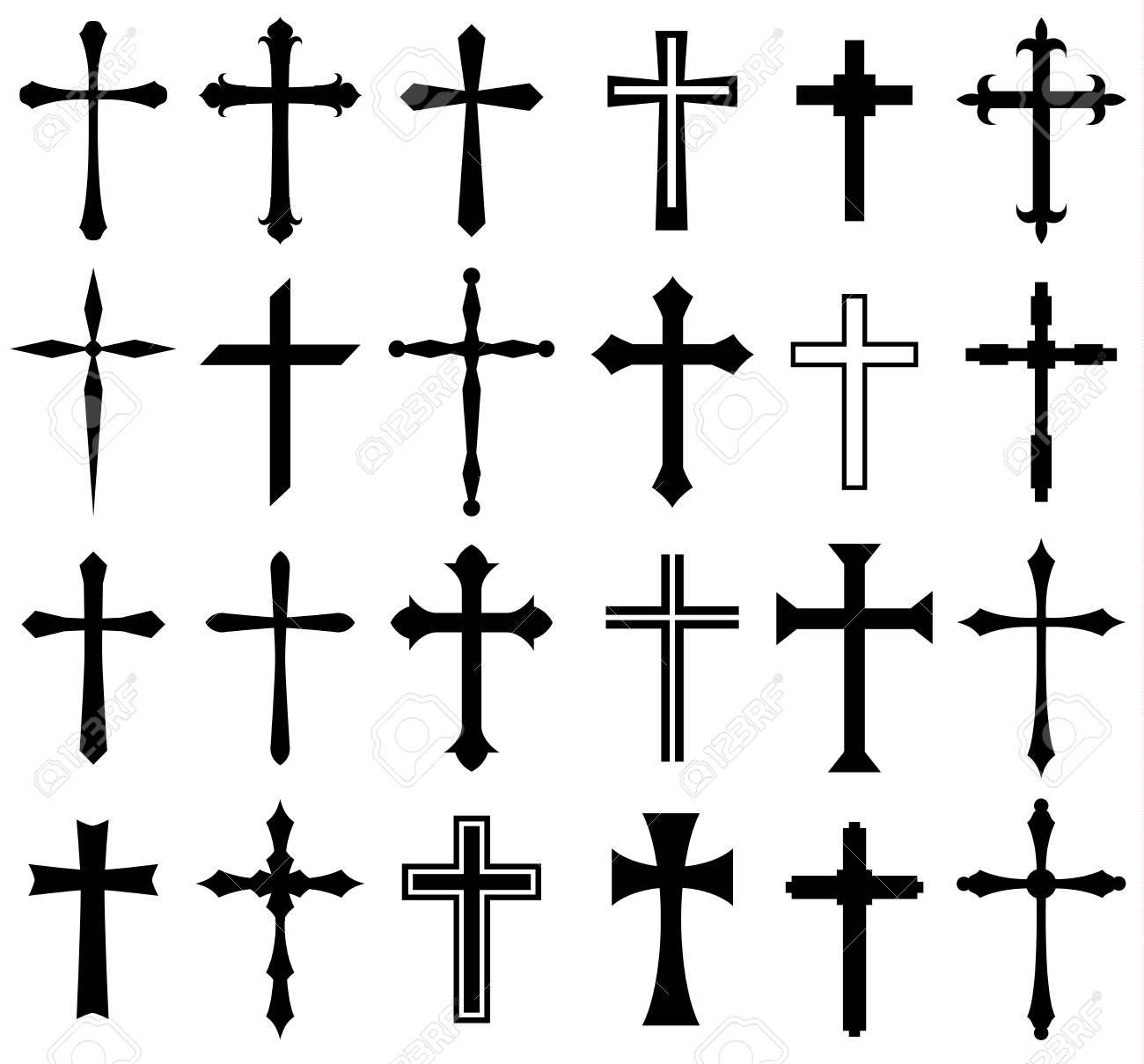 Religion cross icon set, design - 80908233