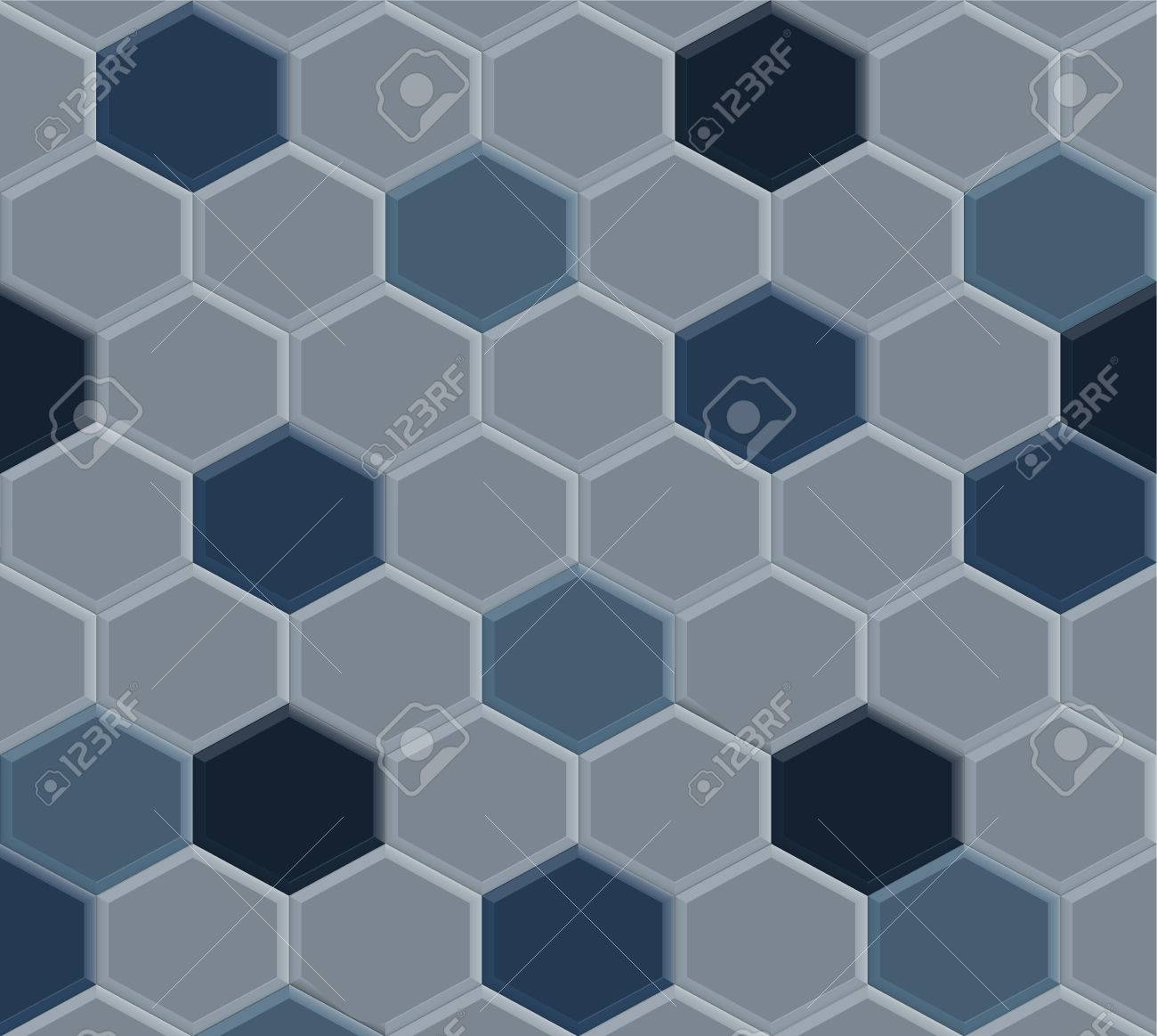 Old Style Of Hexagon Blue Pavement Tile Pattern Background ...