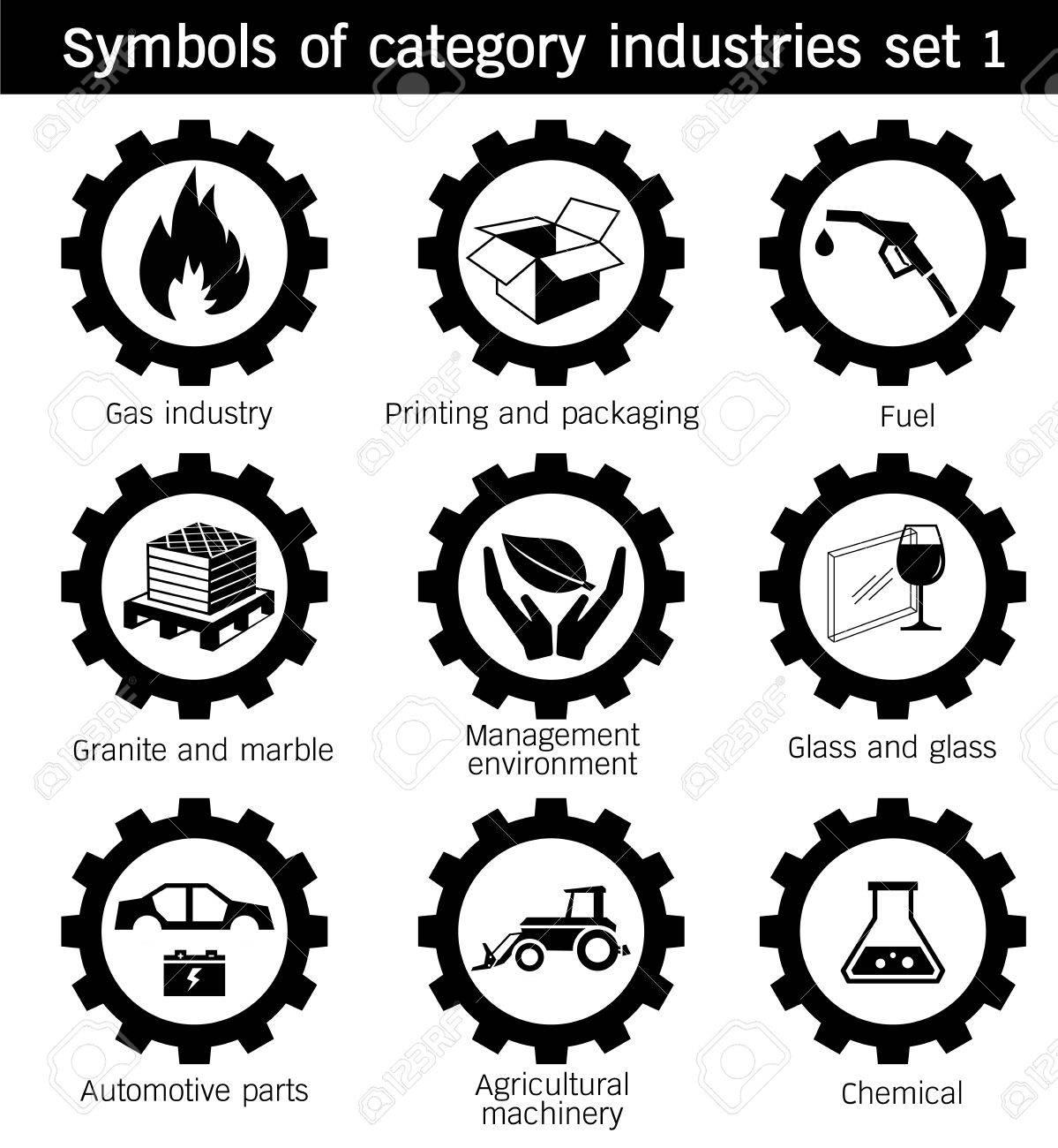Symbols of category industries icon set gas printing packaging symbols of category industries icon set gas printing packaging glass agricultural biocorpaavc