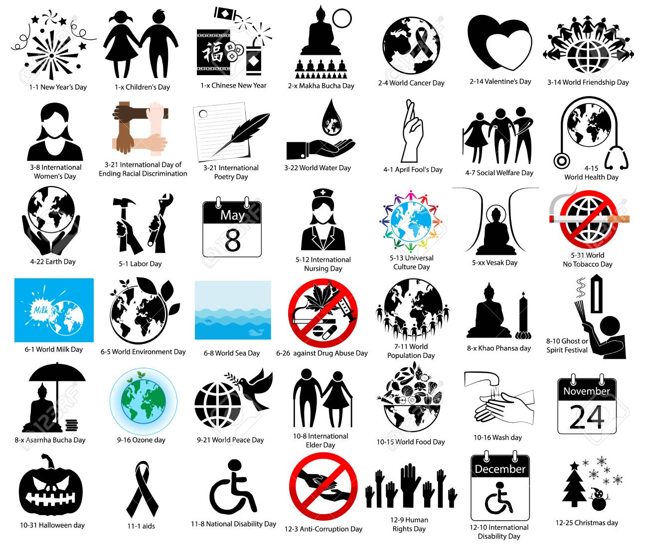 Important Day Of The World Sign And Symbol For Calendar Royalty Free