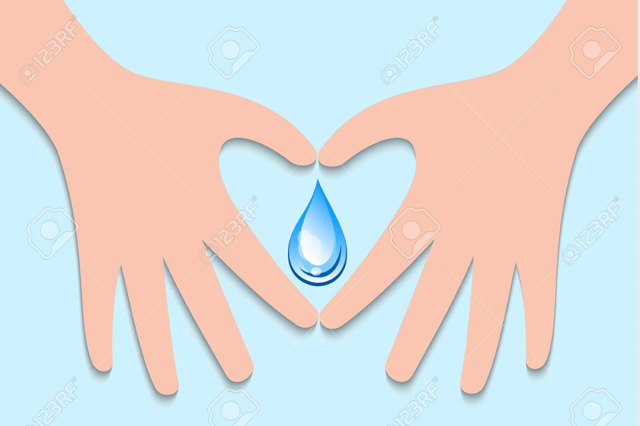 World Water Day Sign Symbol With Hand Make Heart For Water Drop