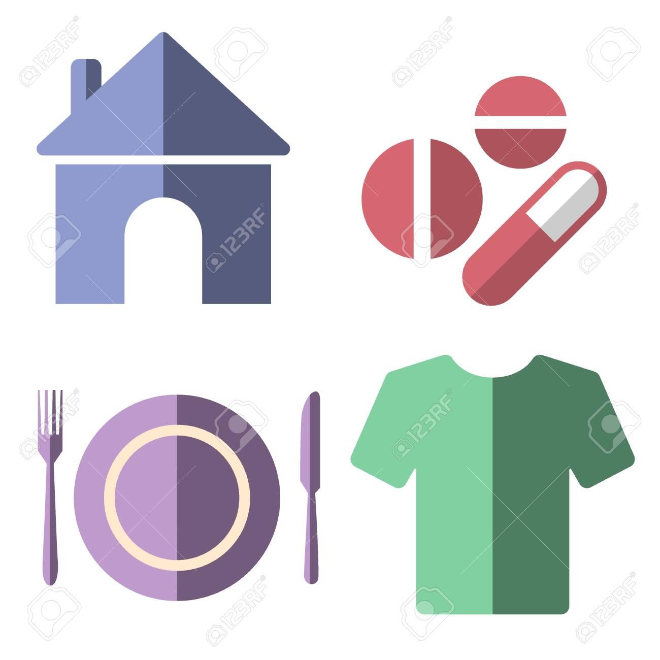 4 basic human needs flat icon set - 149435762
