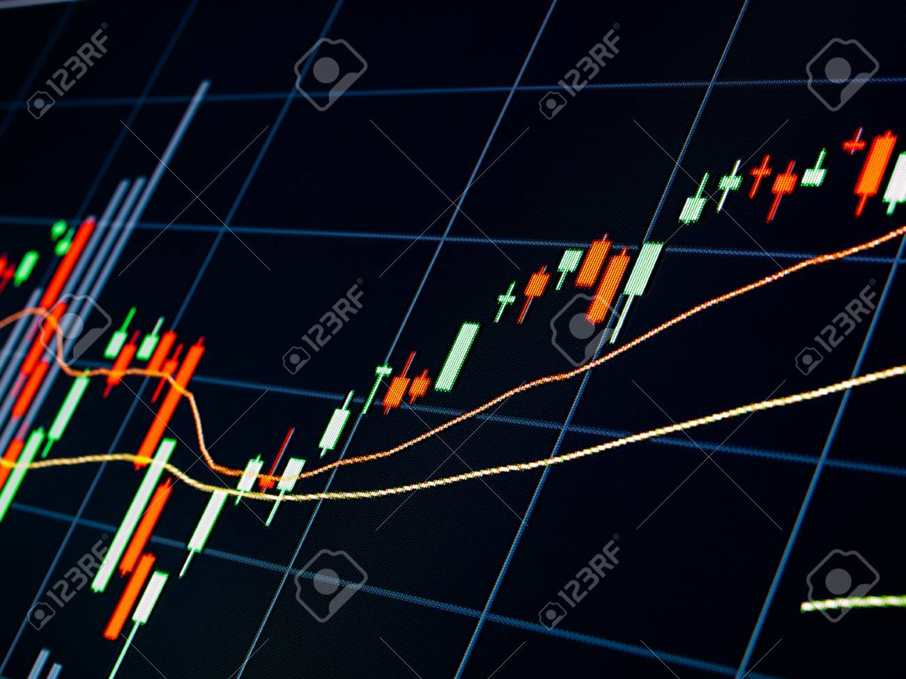 Stock Market Chart on led screen Stock Photo - 21647349