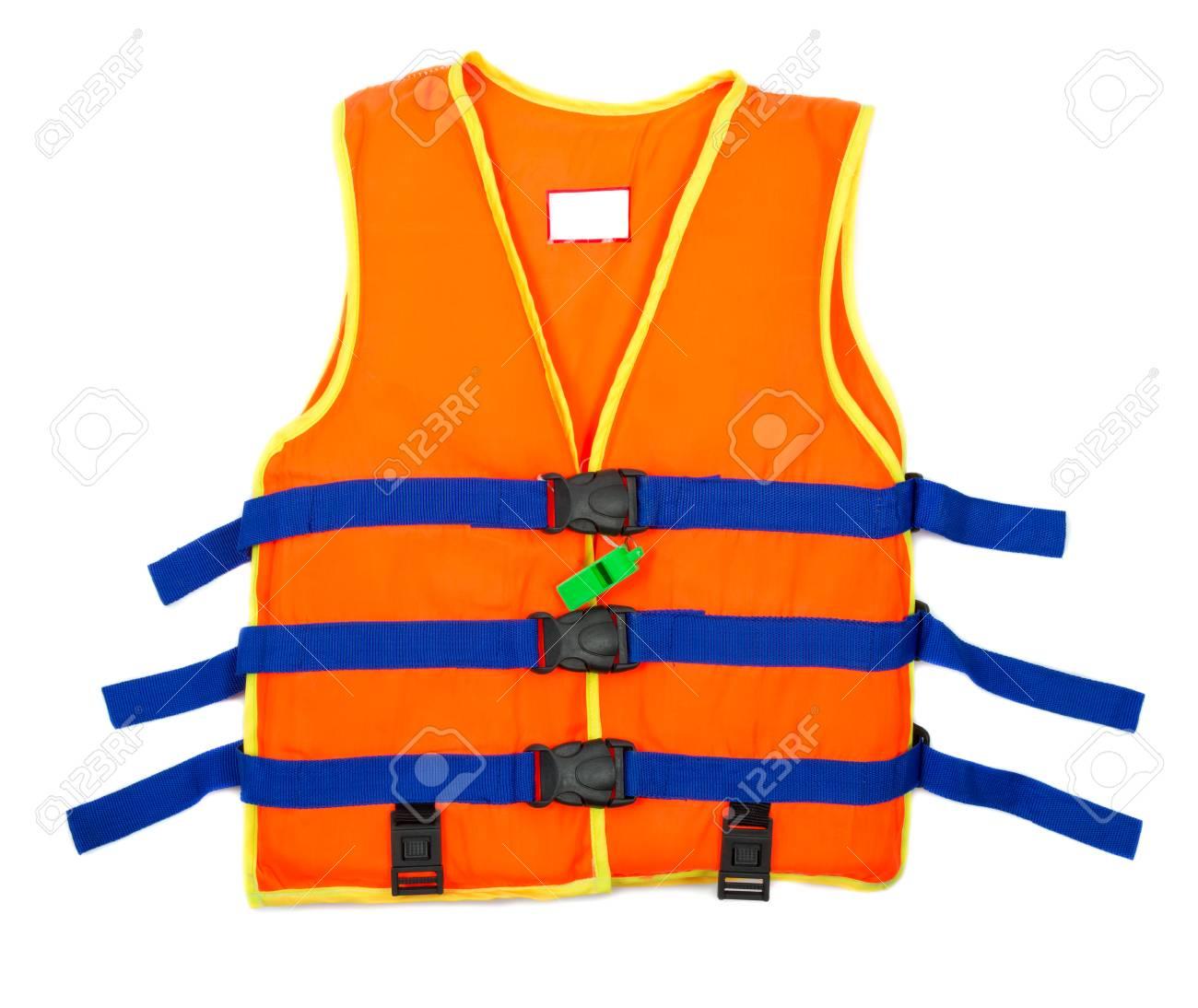 Orange Life jacket with isolated white background - 54782480