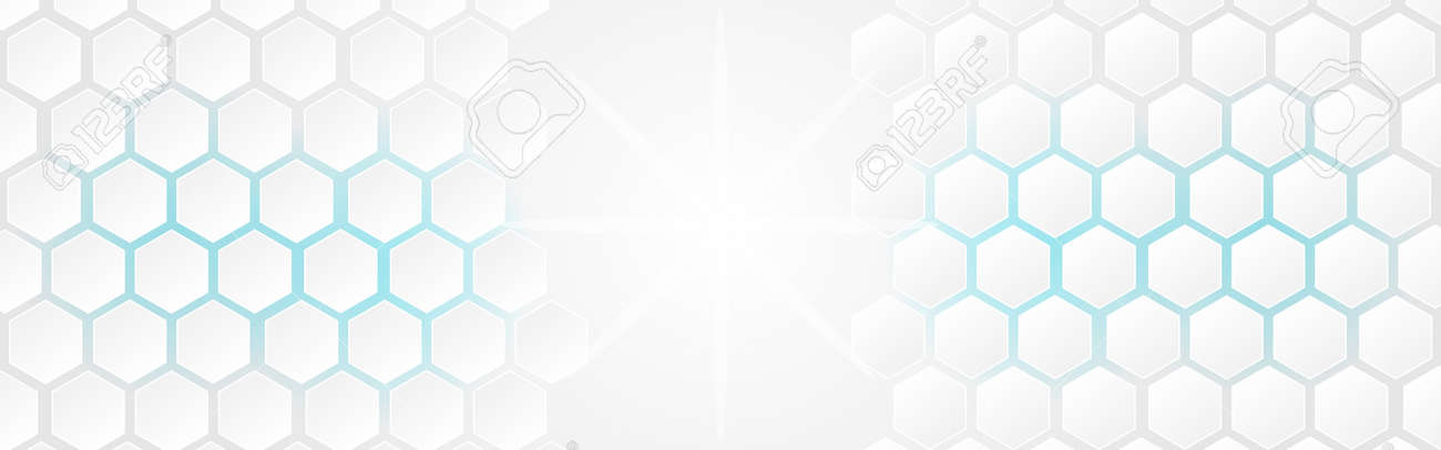 White abstract polygon banner background. Vector 3d hexagon paper of business technology blue energy texture. - 155681323