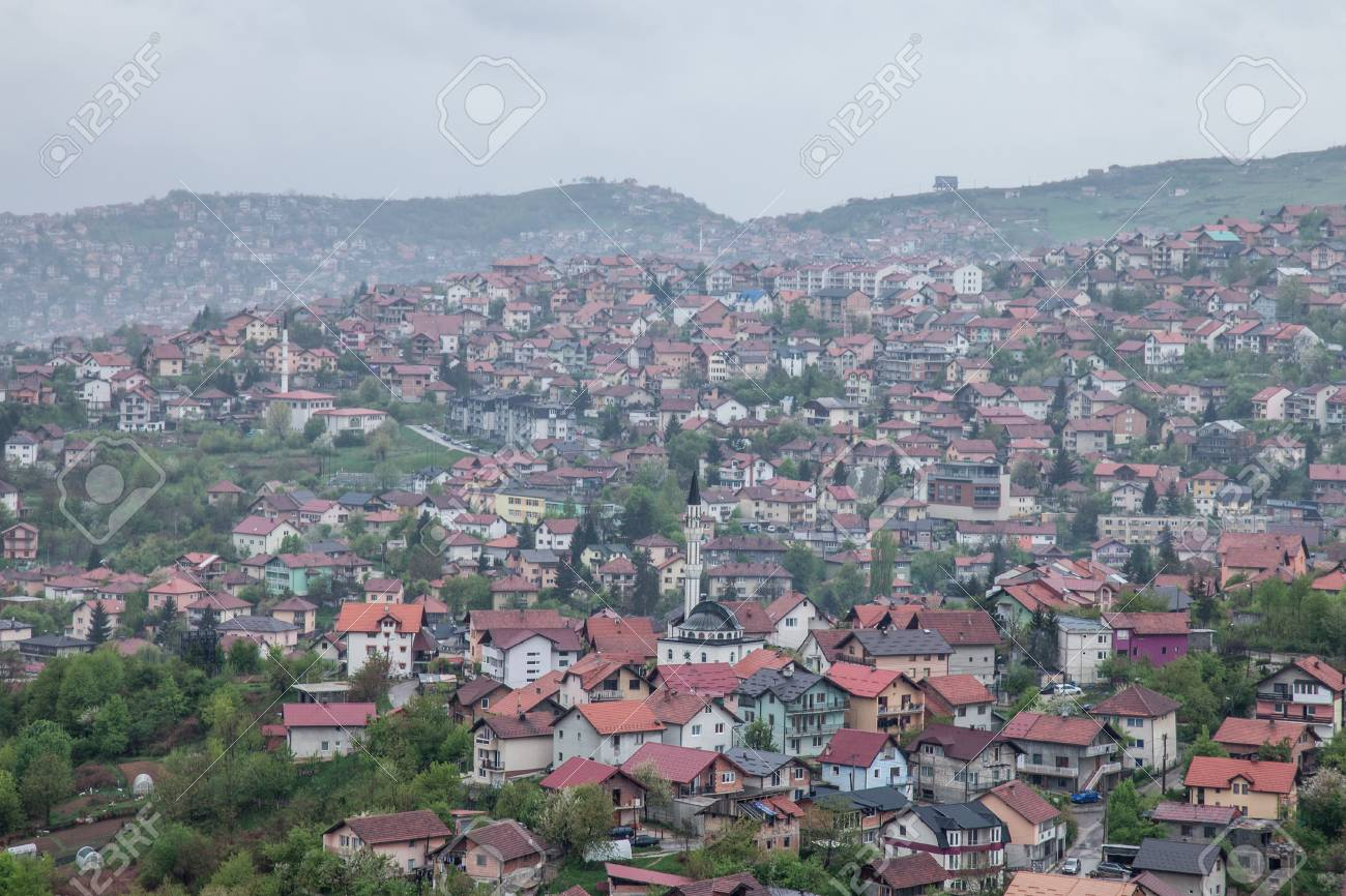Aerial View Of The Hills Of The Suburbs Of Sarajevo Bosnia And