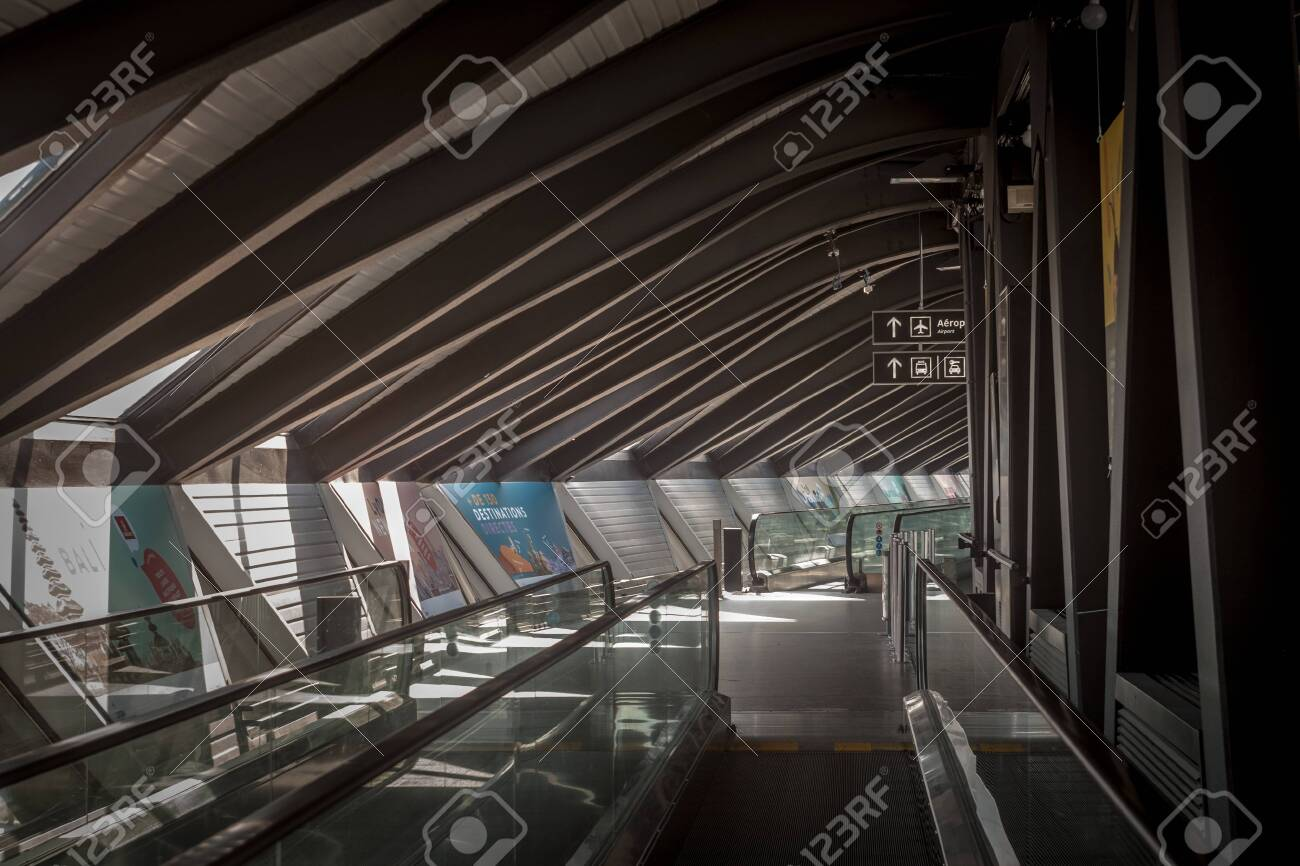 Lyon France July 13 2019 Travelator And Moving Walkway In Stock Photo Picture And Royalty Free Image Image 142584110