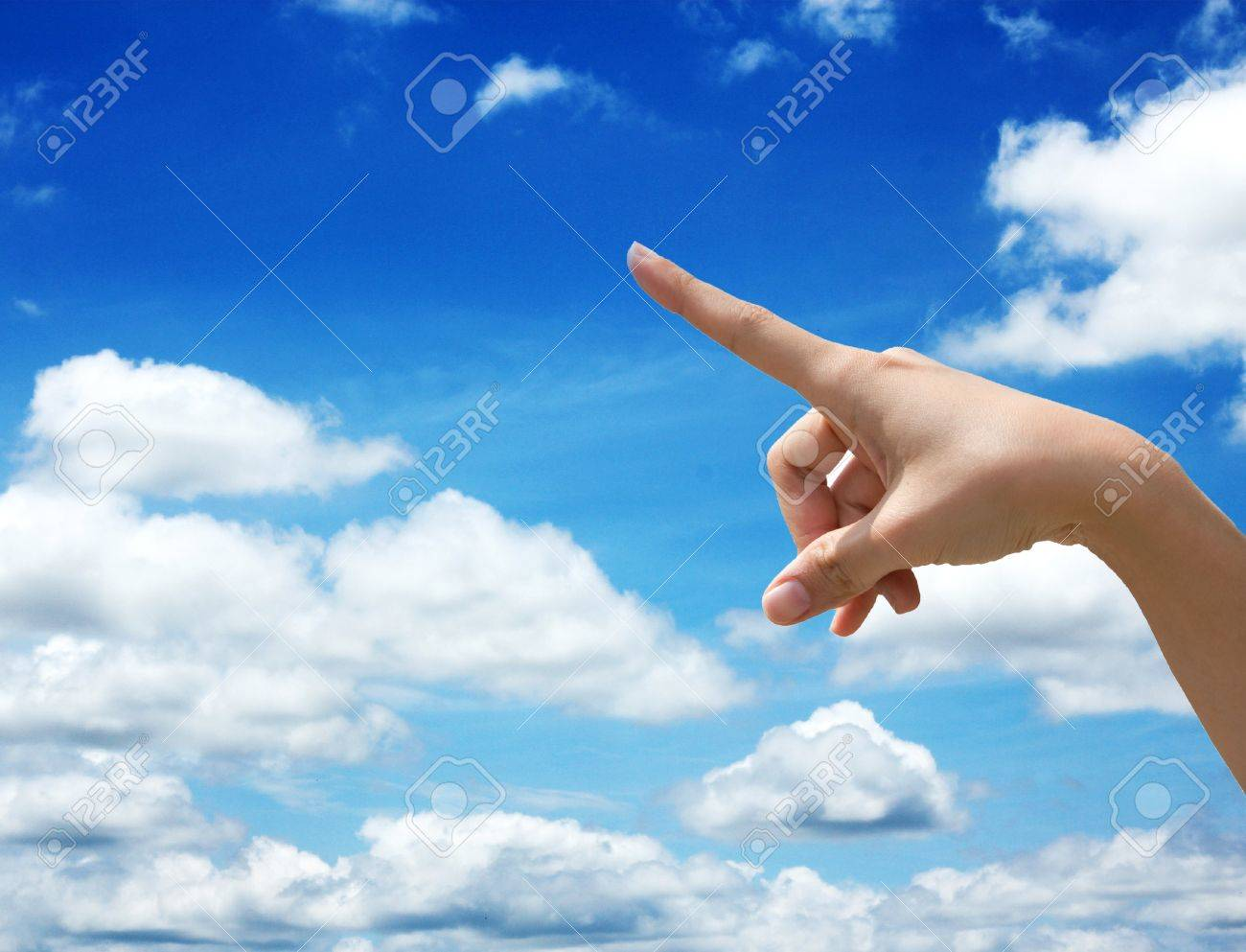 Hand select on sky background Stock Photo - 16218643