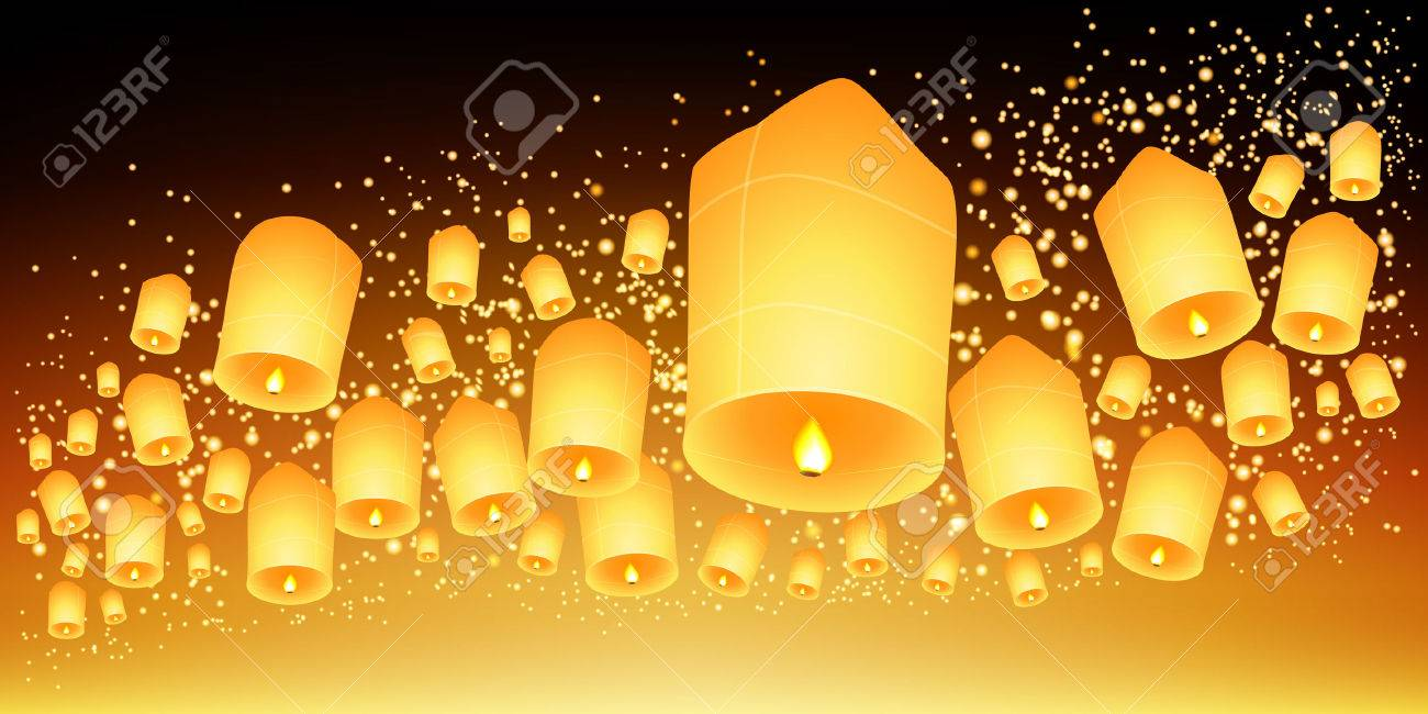 Thailand Sky Lanterns Festival Loy Krathong And Yi Peng Festival Vector Royalty Free Cliparts Vectors And Stock Illustration Image 33633720