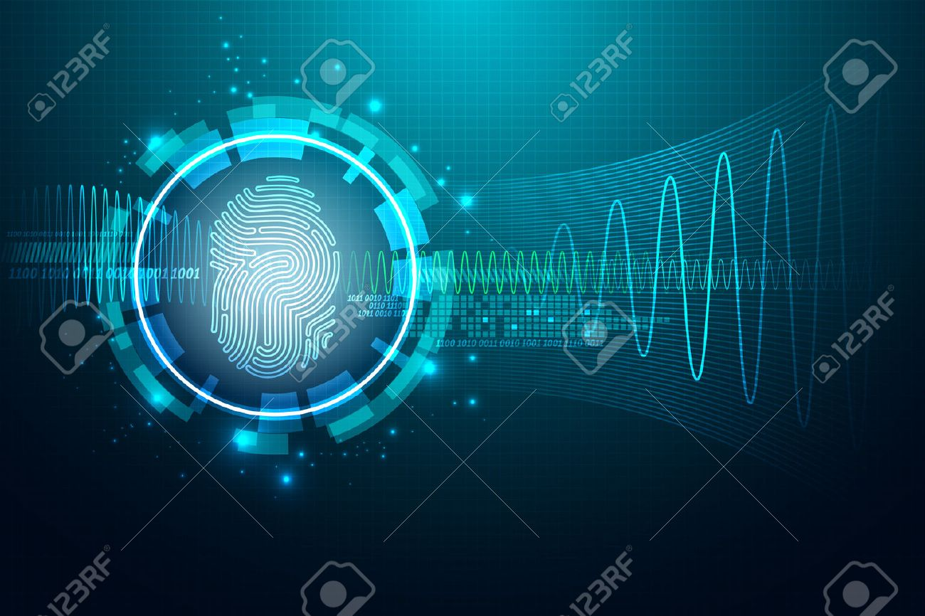 Abstract technology background.Security system concept with fingerprint Letter P sign.Vector illustration - 43133300