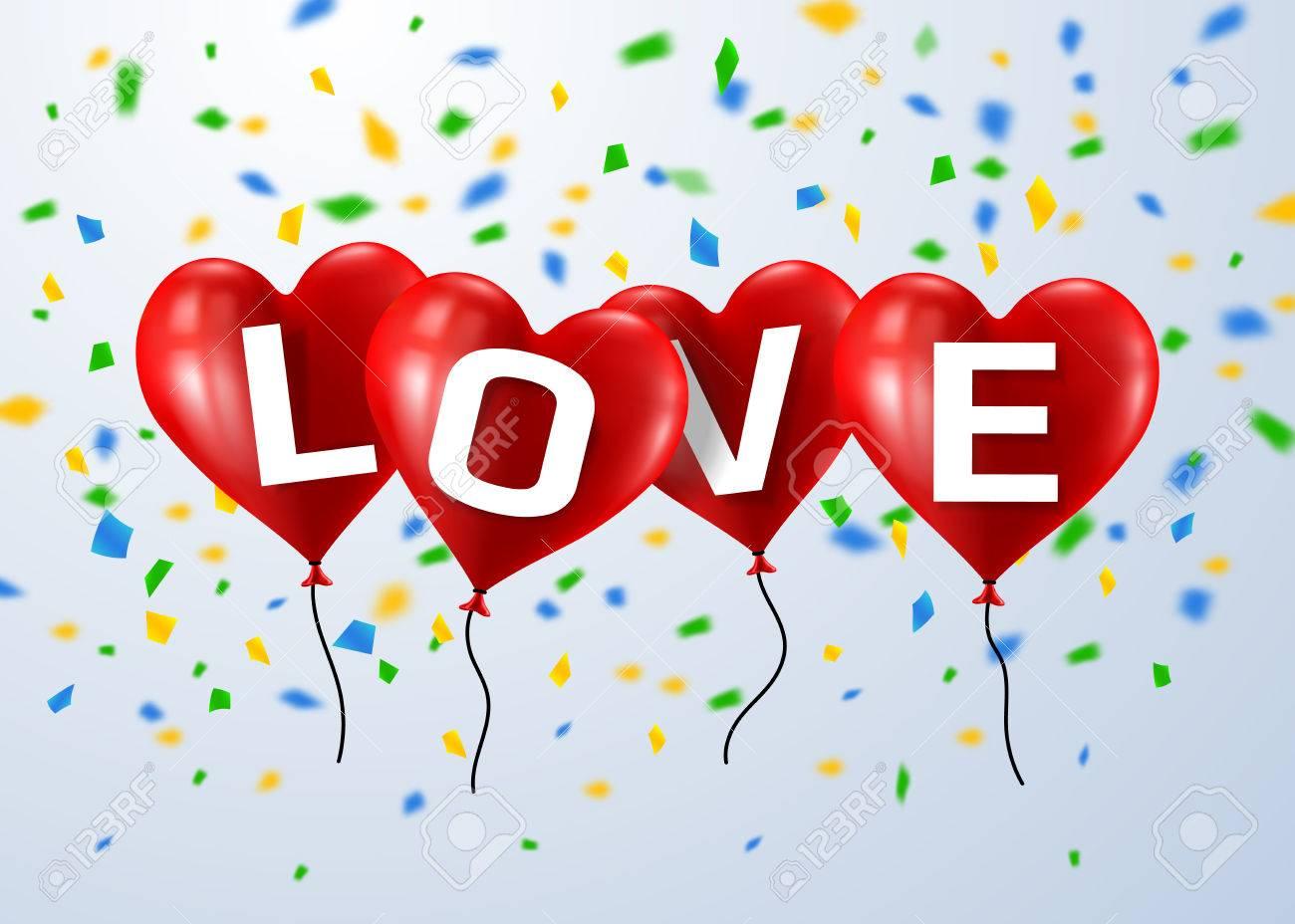 赤本文愛党心気球を飛行します。バレンタインデーのコンセプトです ...