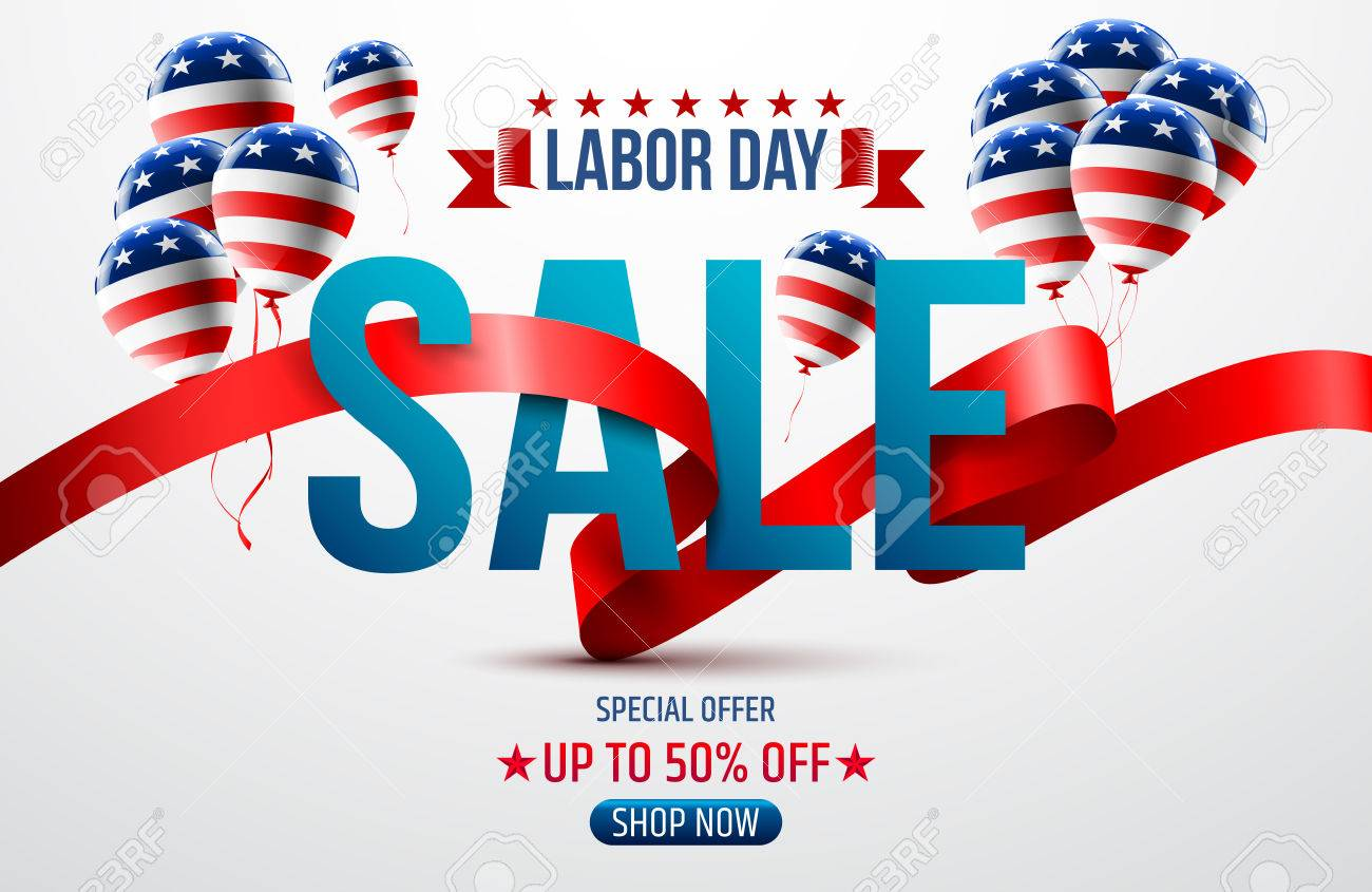 happy labor day with american flag background labor day sale