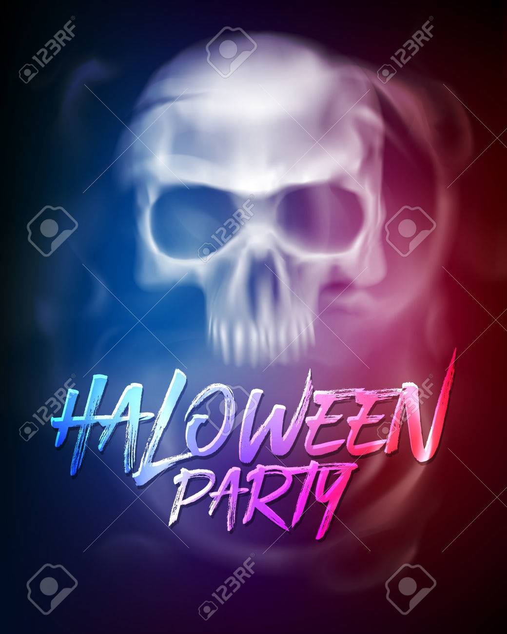 Halloween Party Flyer Or Brochure Template With Transparent Skull ...