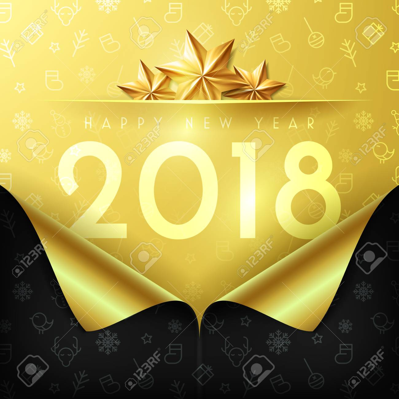 happy new year 2018 poster and template with open new year gift wrap paper concept