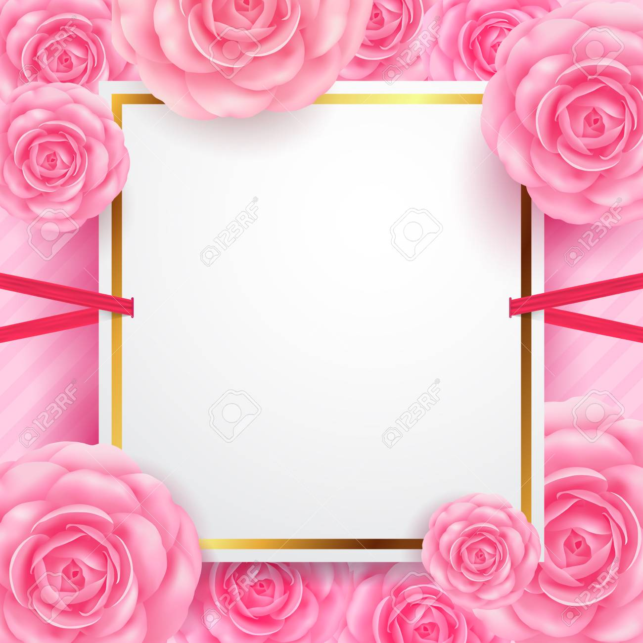 White blank banners with beautiful flower for valentines day vector white blank banners with beautiful flower for valentines day greeting card bannersflyers posters and brochurector illustration eps 10 izmirmasajfo