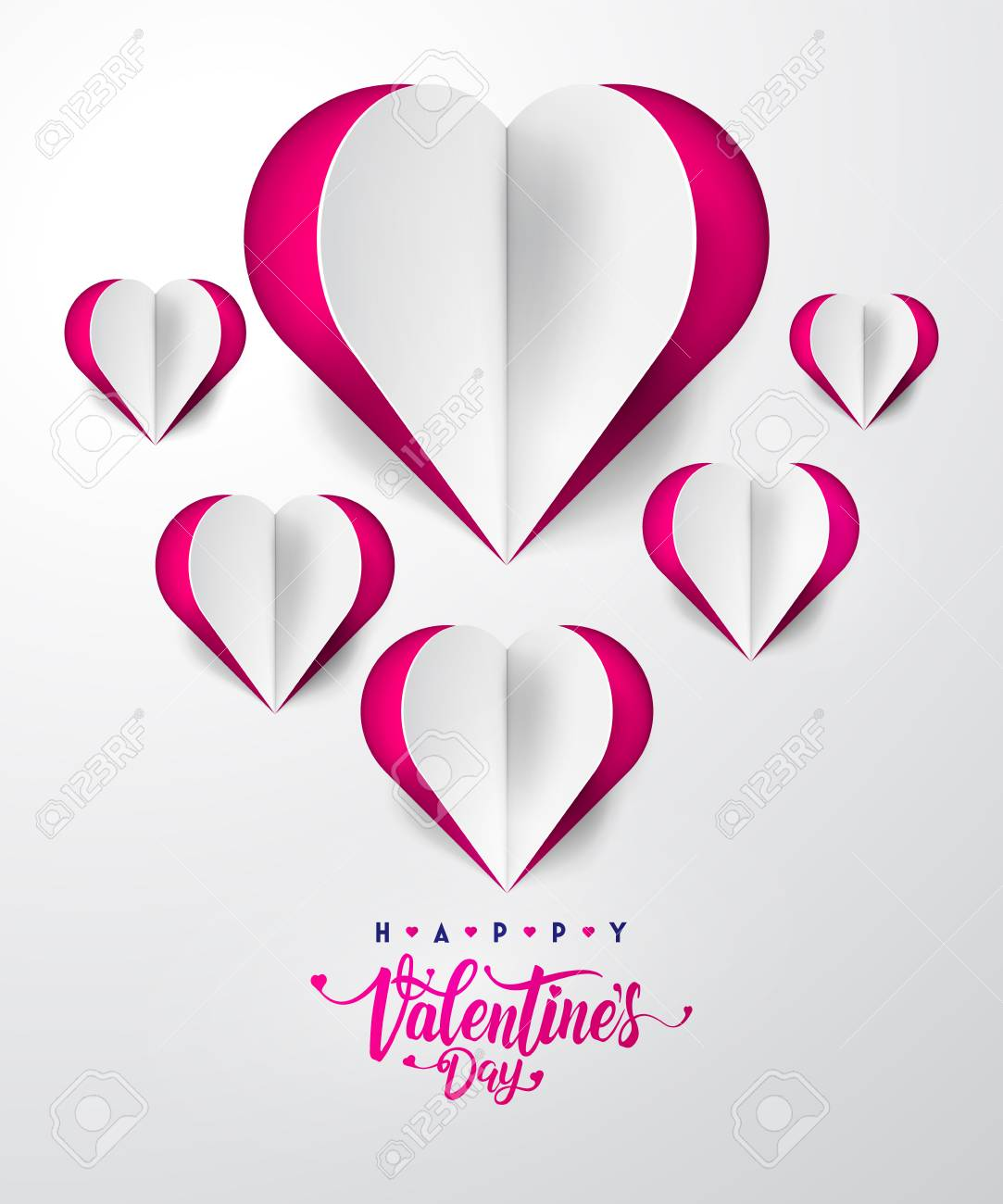 Invitation Card Valentine S Day With Typography And Cut Paper