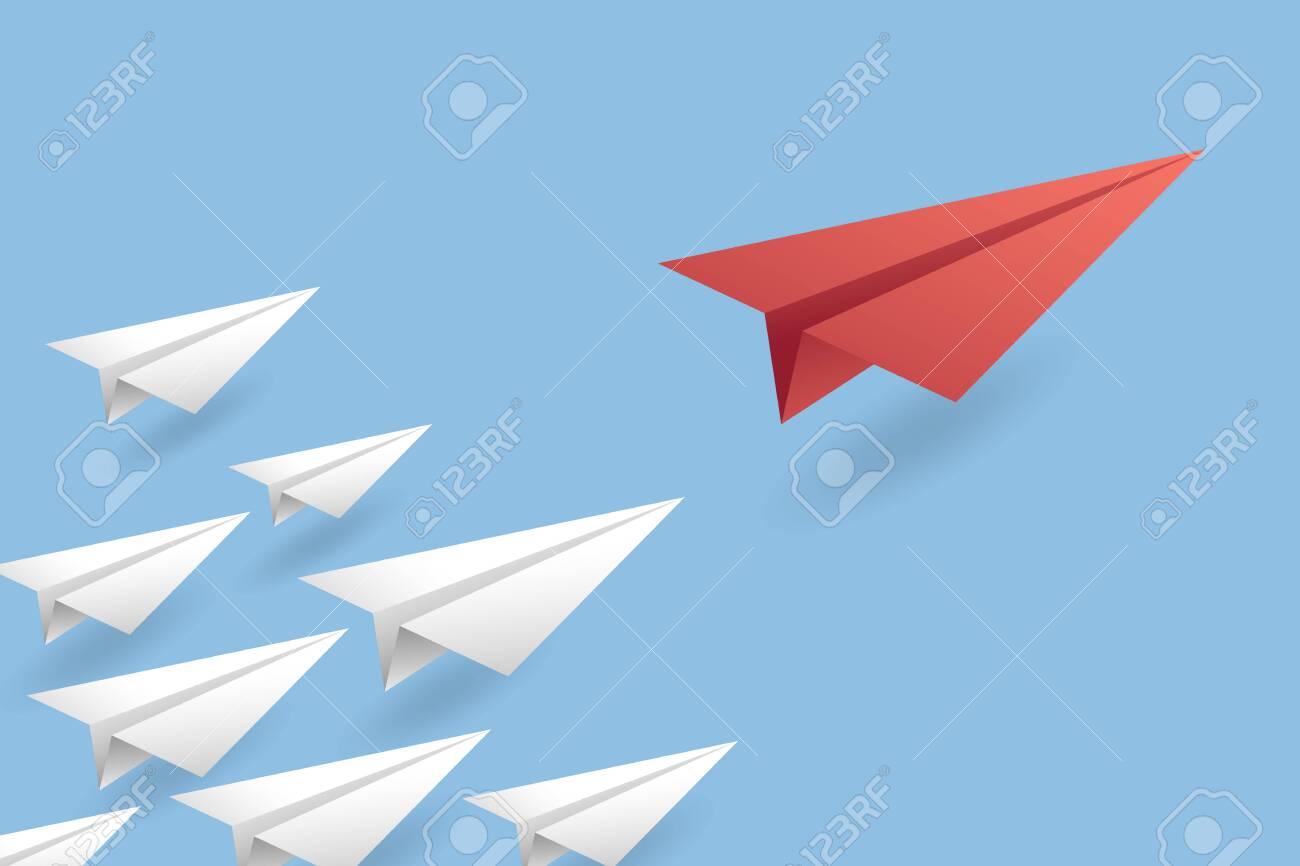 Leadership Concept Background. Paper Air Plane Vector Illustration EPS10 - 130219952