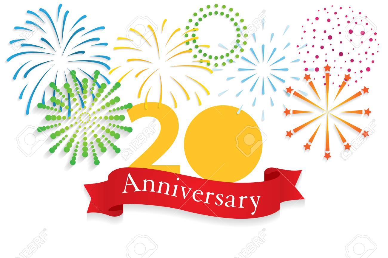happy anniversary 20 year background with firework stock photo 101123555