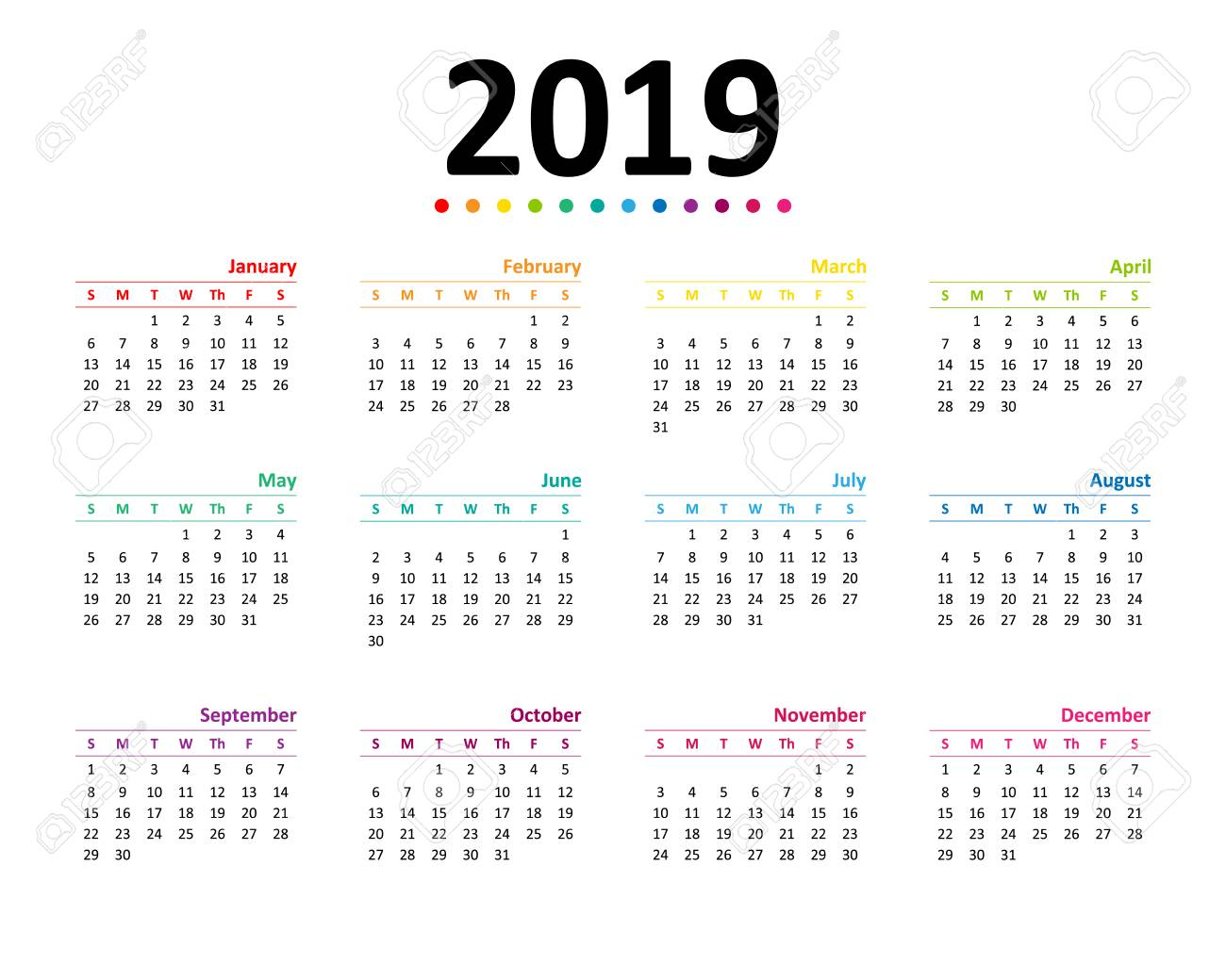 Calendar For The Year 2019 Year 2019 Calendar Wallpaper Royalty Free Cliparts, Vectors, And