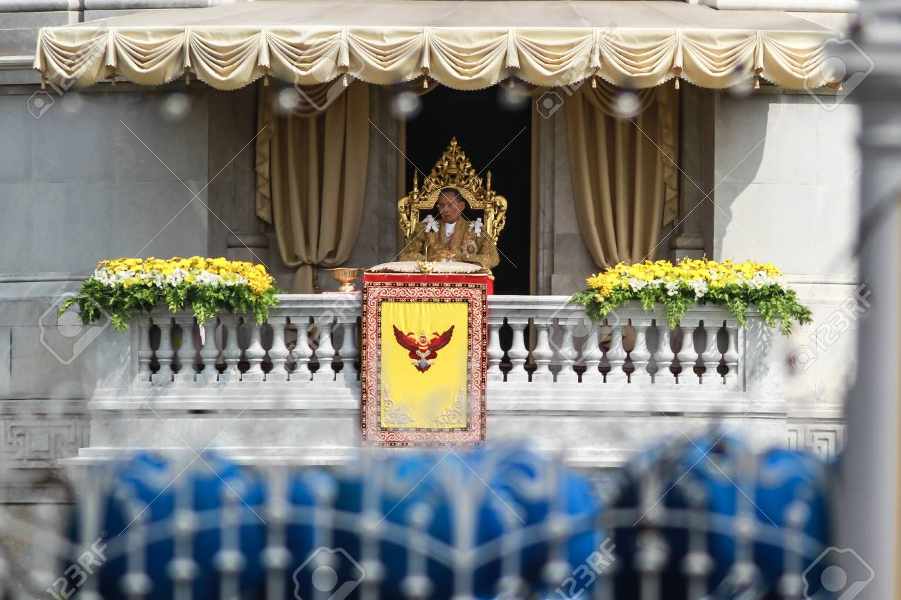 BANGKOK ,THAILAND - DECEMBER 5: Unidentified Hundreds of thousands of people thronged the Royal Plaza to help celebrate HM's 85th birthday; the King is the world's longest-reigning monarch. His Majesty ended his birthday speech delivered to all well-wishe Stock Photo - 16870701