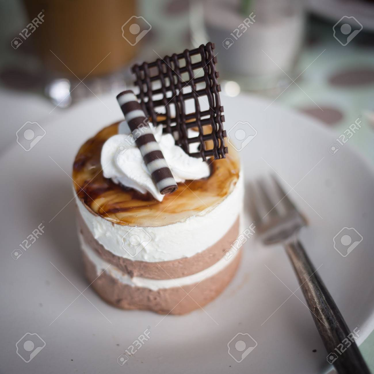 Chocolate mousse cake in coffee shop Stock Photo - 21951833