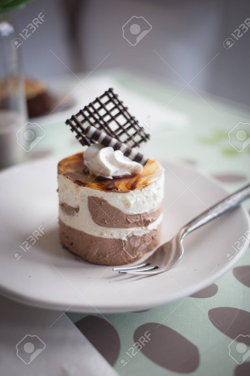 Chocolate mousse cake in coffee shop Stock Photo - 21951832
