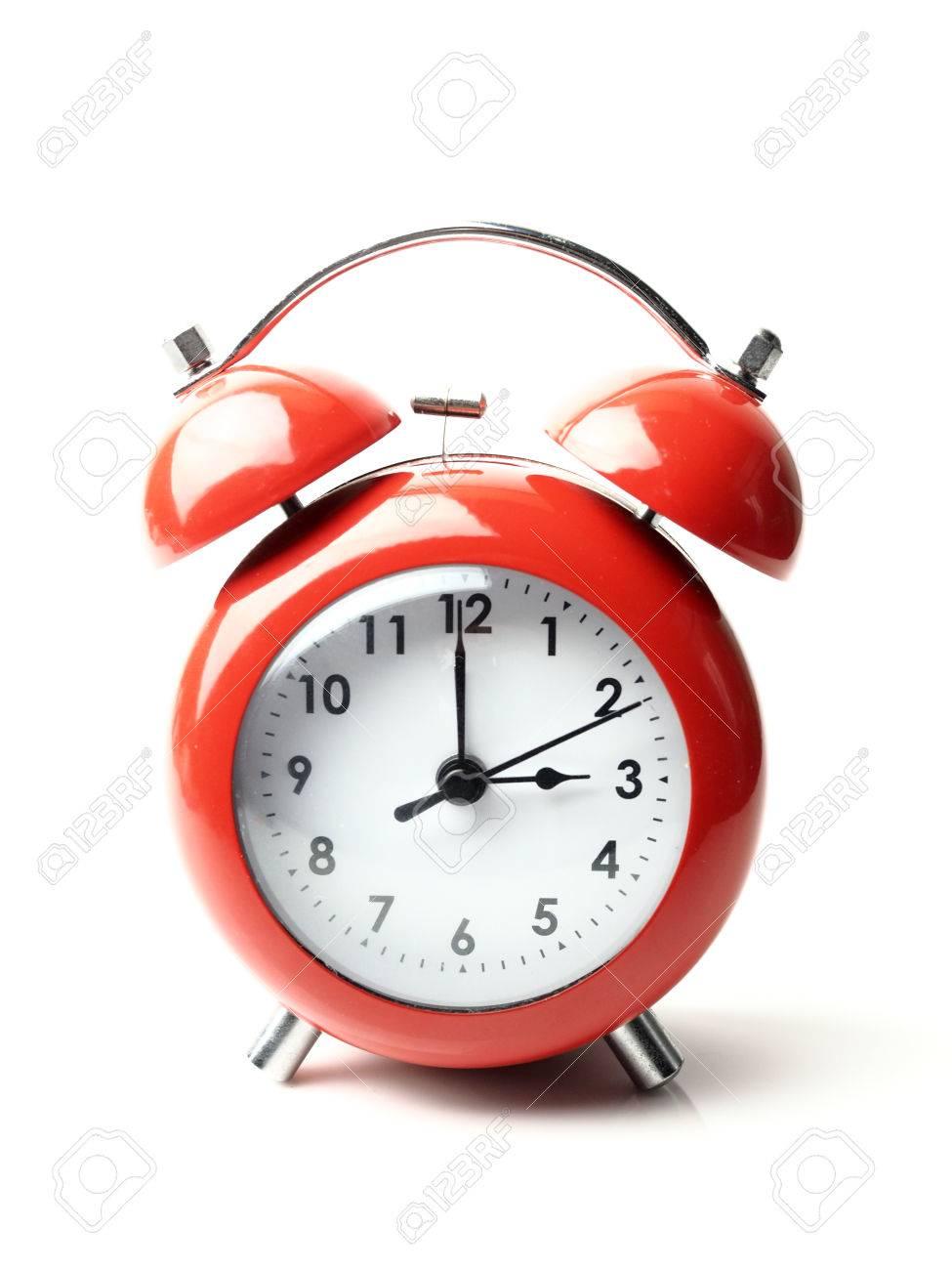 vintage retro red alarm clock 3 o clock isolate white background rh 123rf com Clock 6 7 O'Clock Clip Art