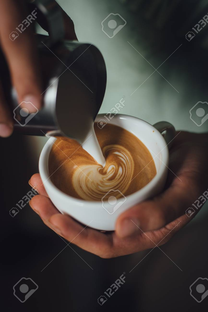 Coffee Latte Coffee Latte Art Make By Coffee Maker Barista Stock Photo Picture And Royalty Free Image Image 64210909