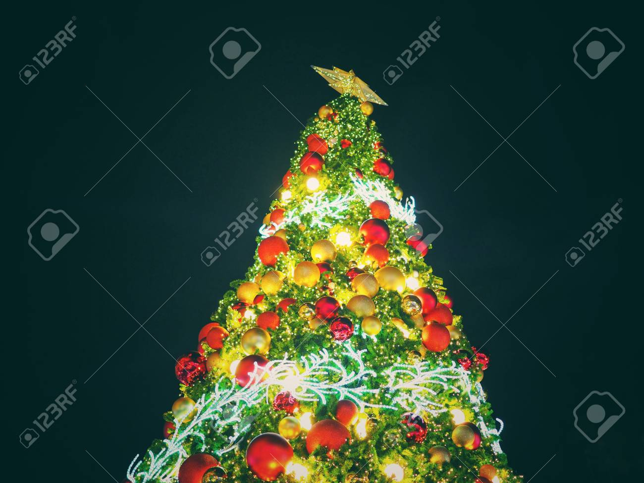 Big Christmas Tree Lighting At Night In Christmas Festival With ...