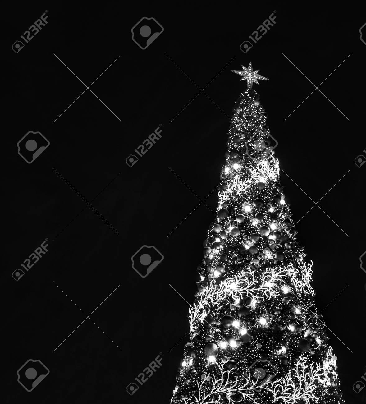 Big Christmas Tree Lighting At Night In Christmas Festival With