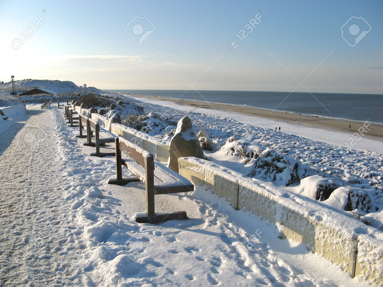 Benches And Beach Under Heavy Snow On Famous Sylt Island Germany