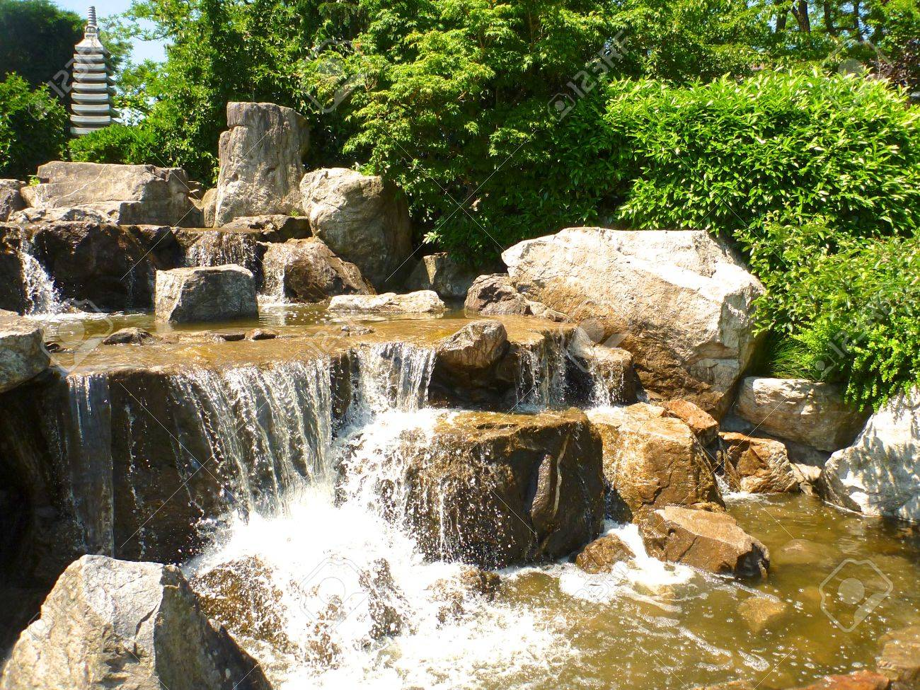 Cascades in the Japanese gardens of Freiburg Seepark, Germany - 21014940