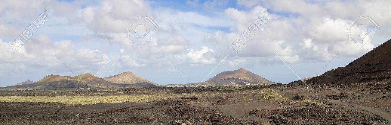 Volcanic landscape and lava stone desert of Lanzarote island, Spain - 27931218
