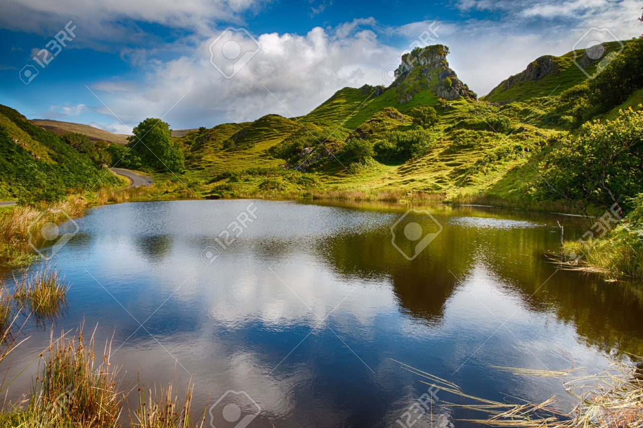 Mystic Fairy Glen, a romantic green valley with strange stone structures on the Isle of Skye, Scotland, HDR Version - 31575554