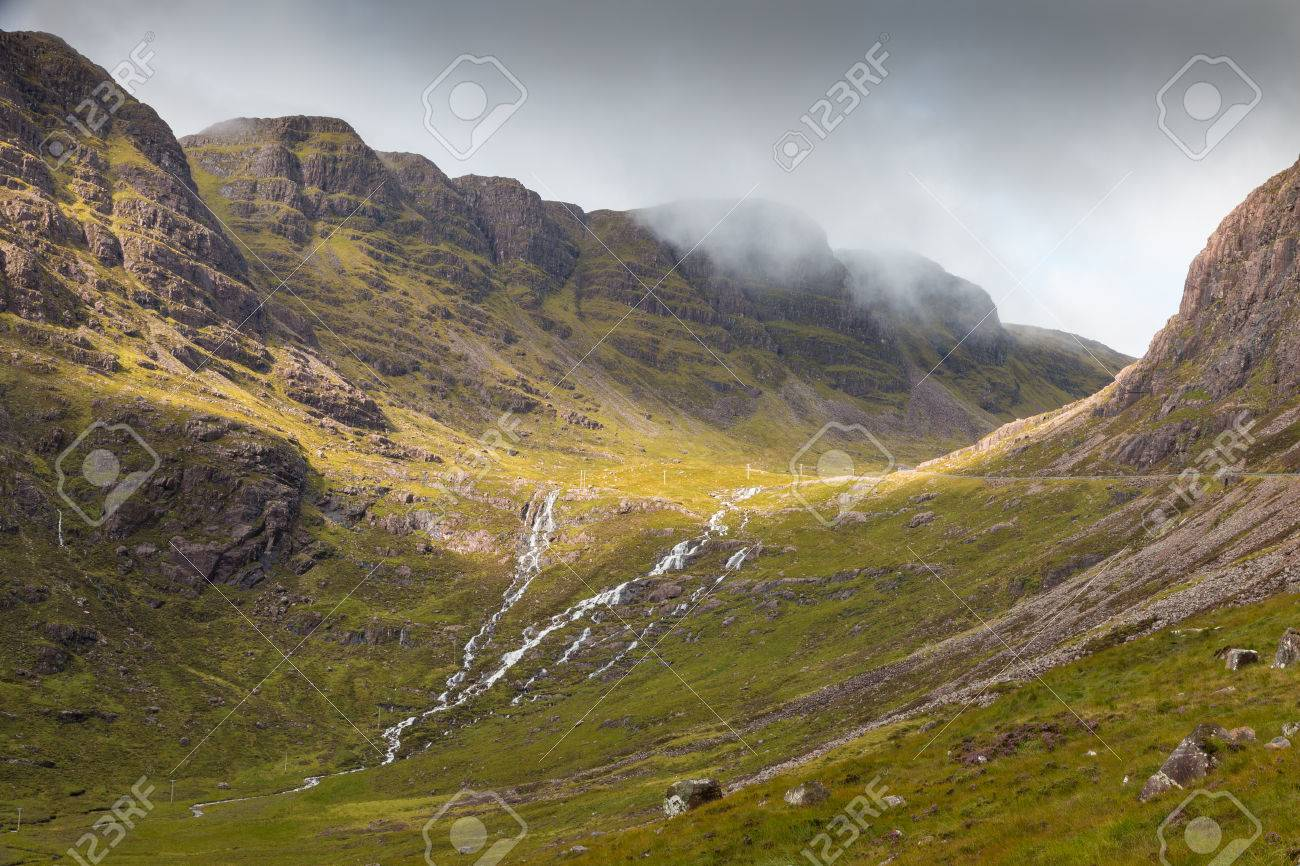 View into the misty Highlands and over the plains next to Loch Kishorn, Scotland - 32153529
