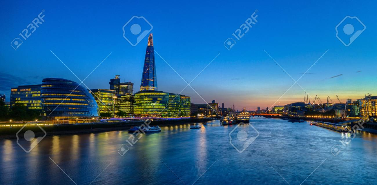 Evening shot of a London city skyline at the bank of the River Thames, HDR version - 67013992