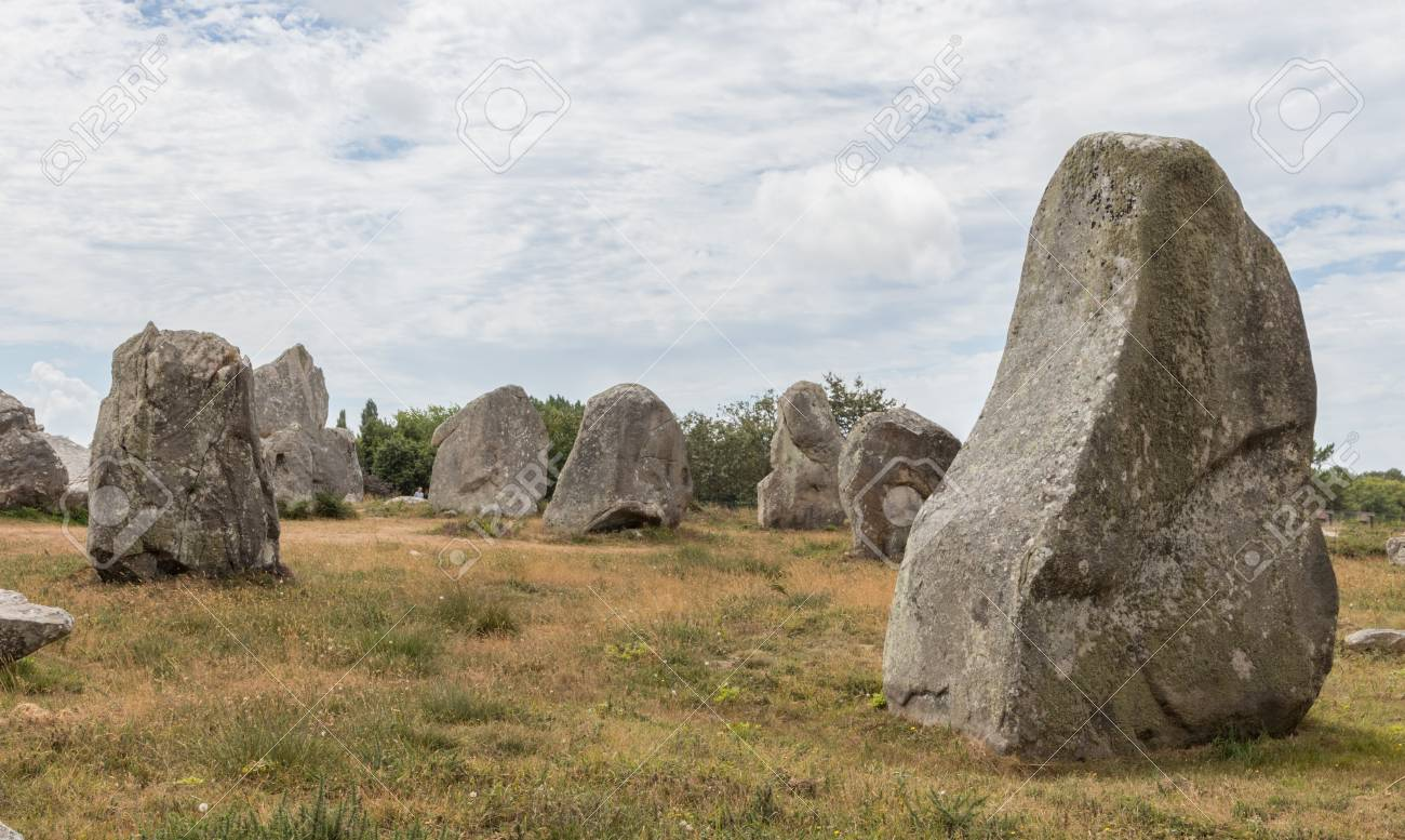 Ancient standing stones of Carnac, Brittany, northern France, a mysterious collection of huge stones from the neolithic age - 73327425