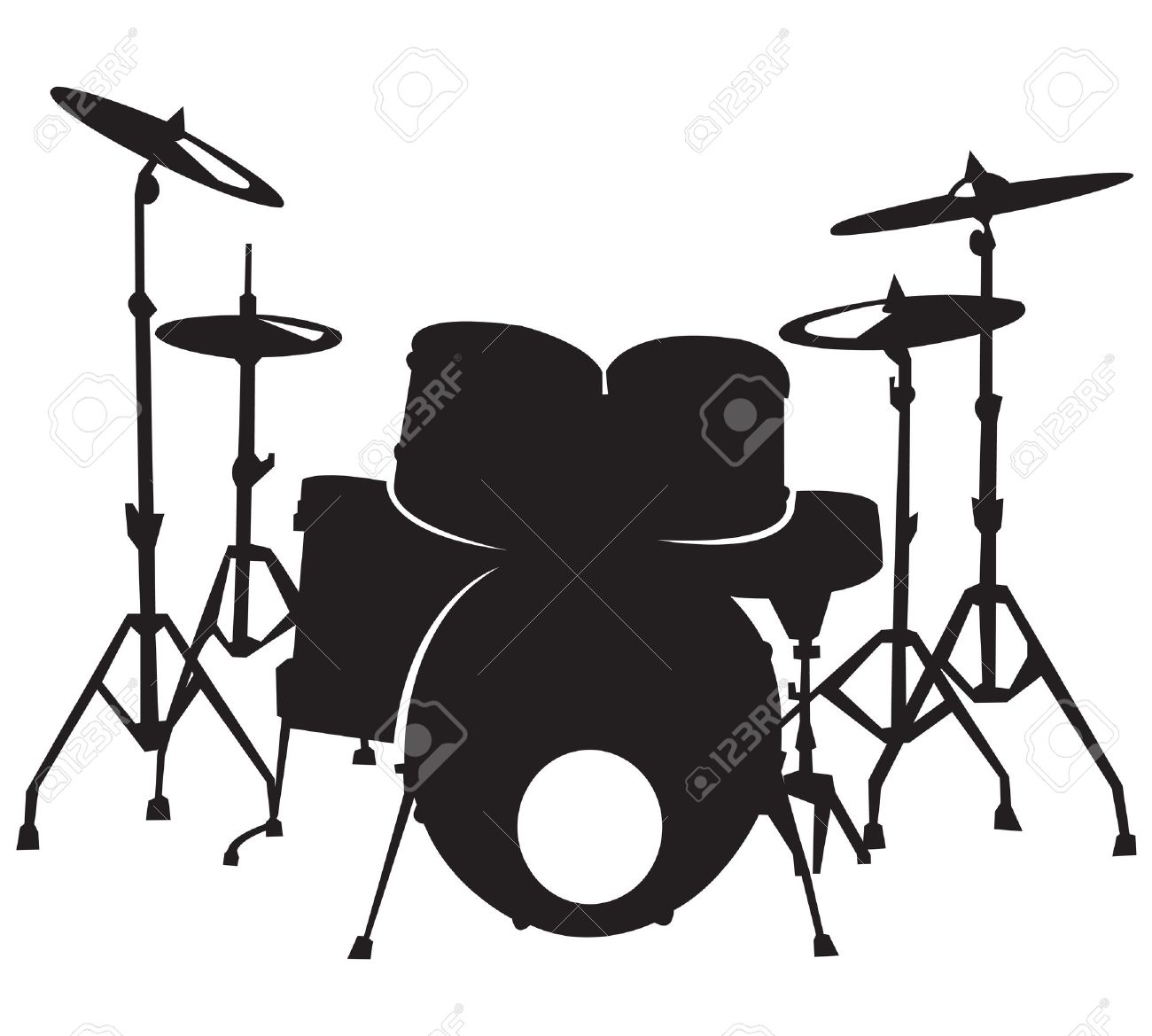 black silhuette of the drum set, isolated on white background Stock Vector - 11575623