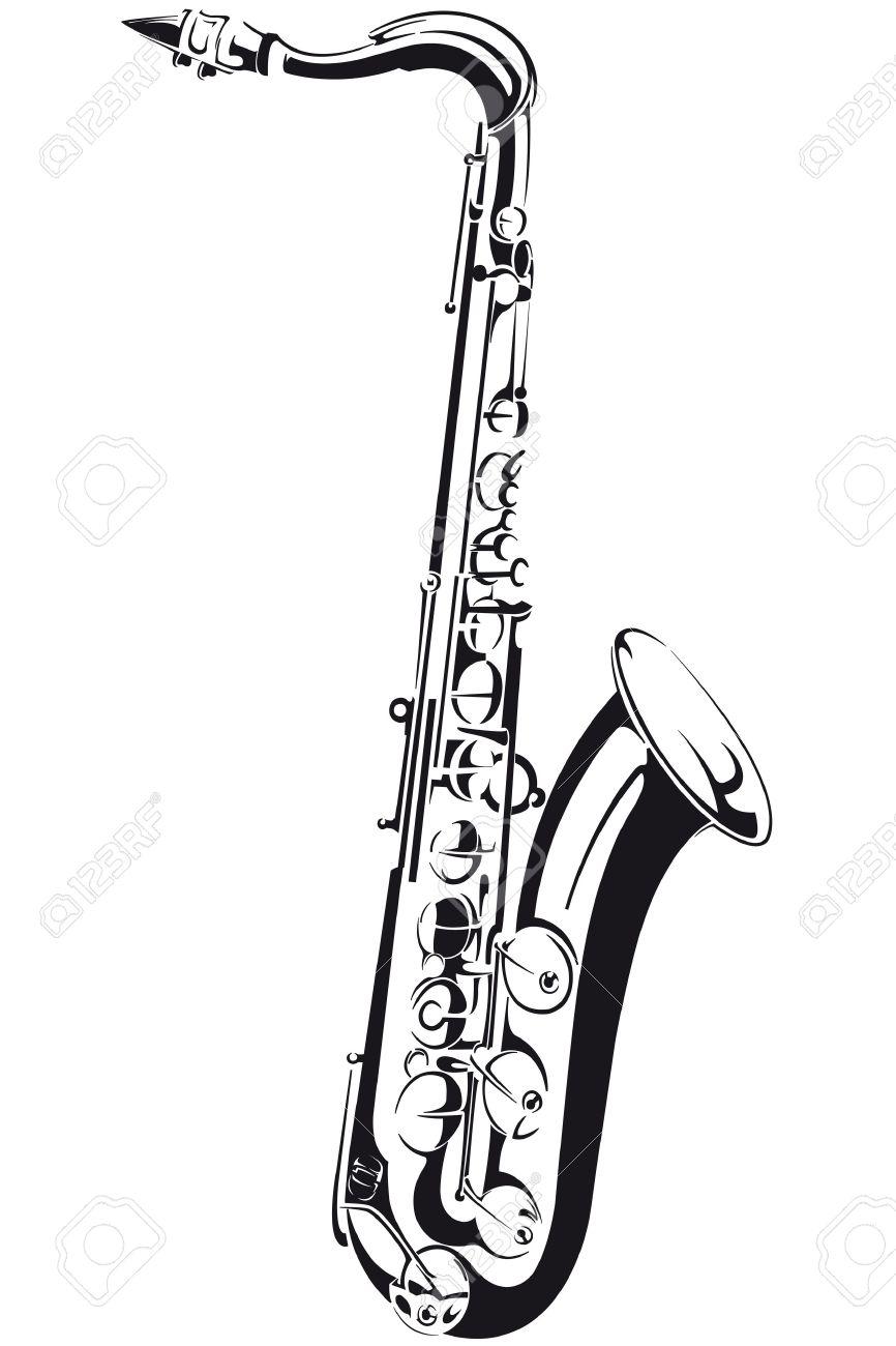 Dessin Saxophone dessin au trait d'un saxophone, isolé sur fond clip art libres de