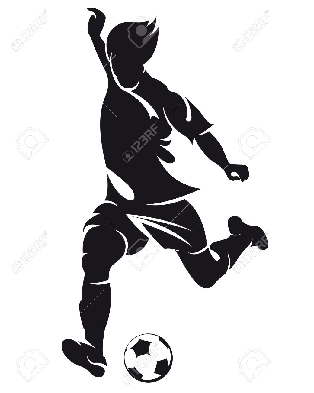 Vector Football Soccer Player Running Silhouette With Ball