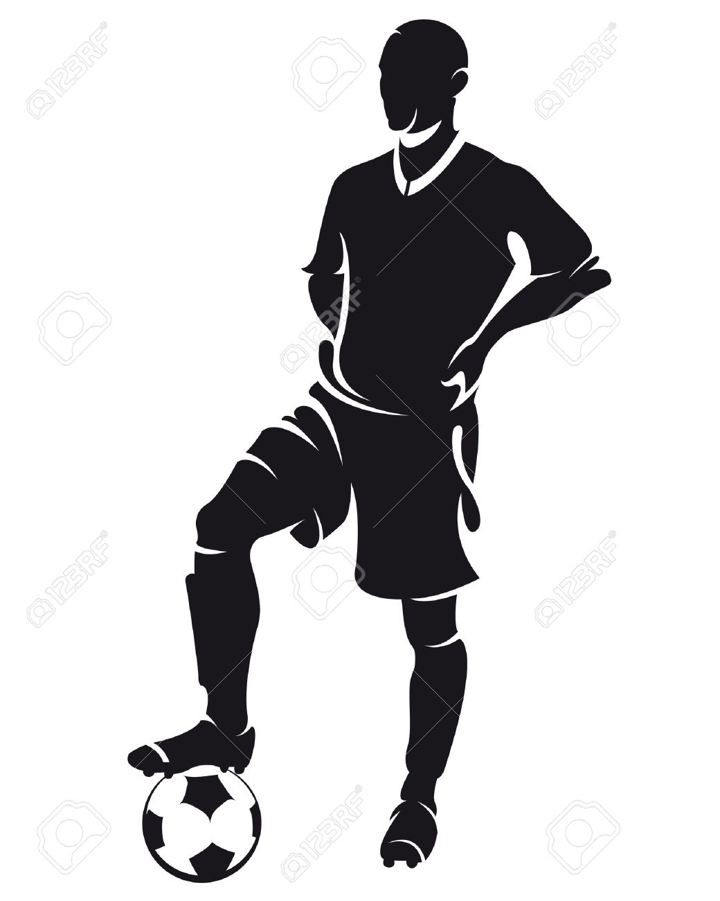 Vector Football Soccer Player Standing Silhouette With Ball