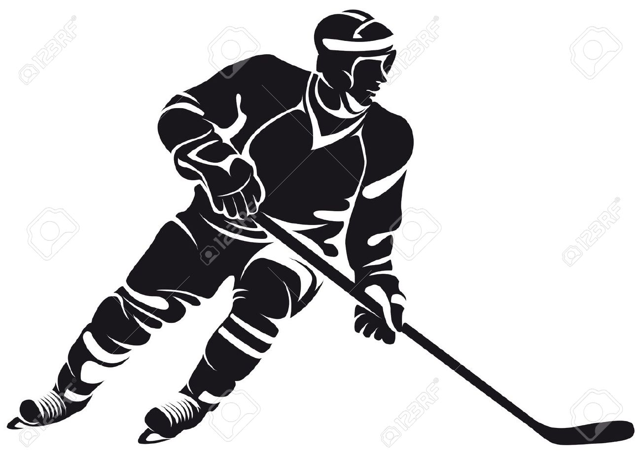 hockey player silhouette isolated on white royalty free cliparts rh 123rf com hockey player clip art free hockey player clipart black and white