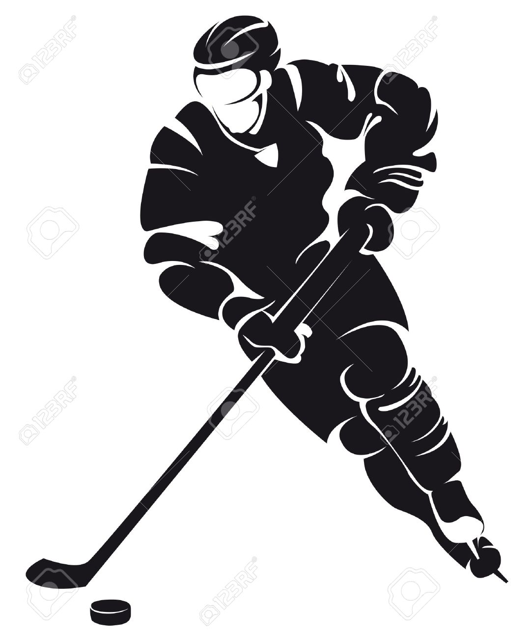 hockey player, silhouette Stock Vector - 17476943