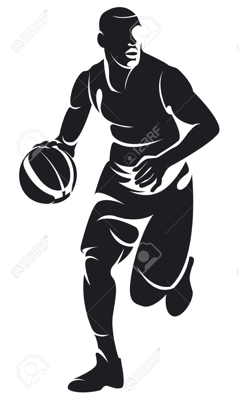 basketball player with ball silhouette stock vector 18552425