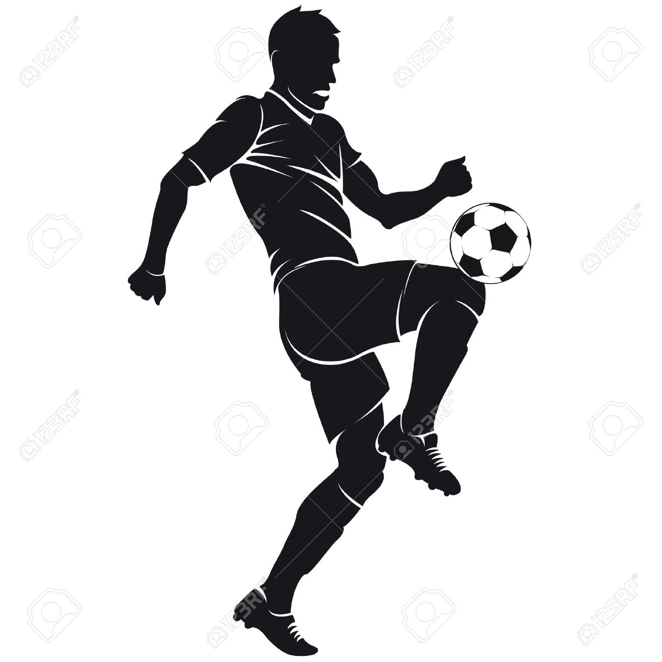 Vector Football Soccer Player Silhouette With Ball Isolated Royalty
