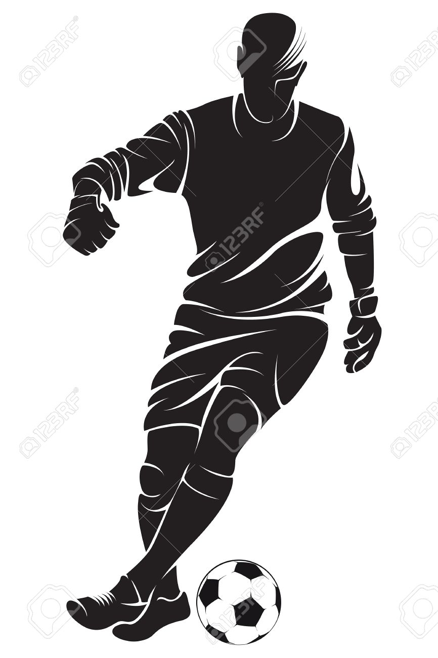 Football Soccer Player With Ball Isolated Vector Silhouette