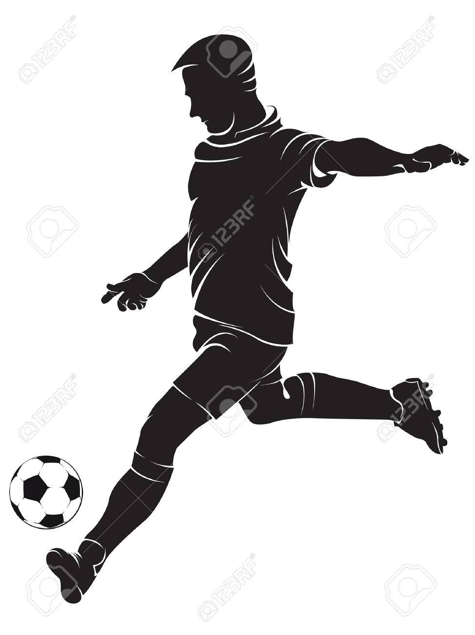 Football Soccer Player With Ball Isolated On White Vector