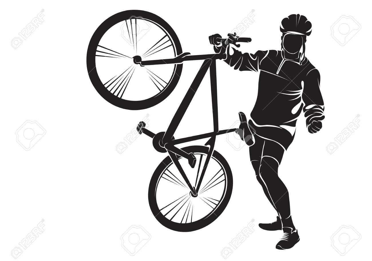 cyclist with bike vector silhouette on white royalty free cliparts rh 123rf com bike victoria bc bike vector free download