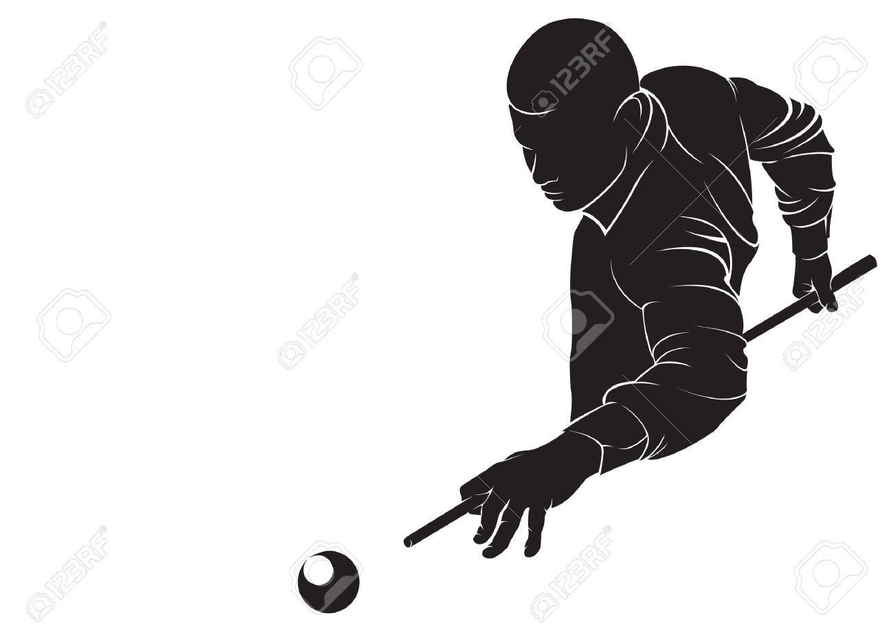 Billard joueur. Vector silhouette, isolé sur blanc Banque d'images - 39654355
