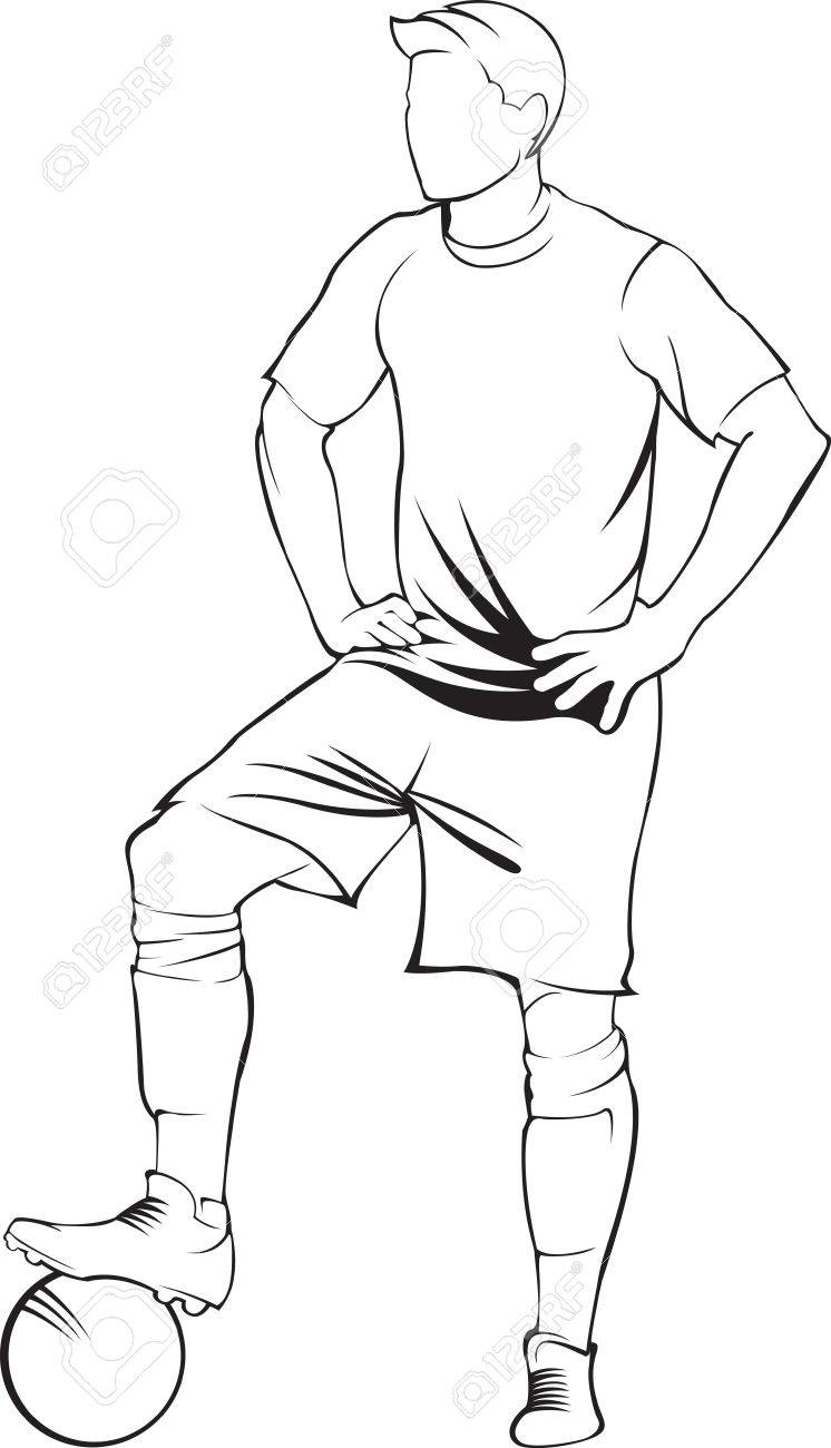 Football soccer player with ball vector linen silhouette stock vector 46498517
